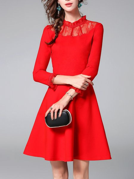 Red 3/4 Sleeve A-line Solid Ruffled Party Dress