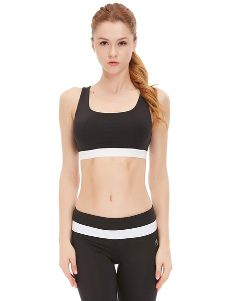 Black Color-block Wicking Sports Bra (Sportswear for Fitness)