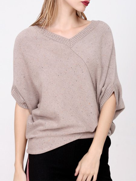 Khaki Simple V Neck Plain Knitted Sweater