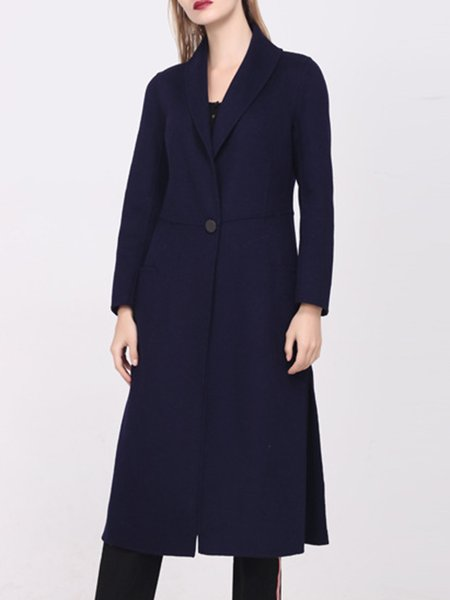 Navy Blue Simple Lapel Plain Wool Coat