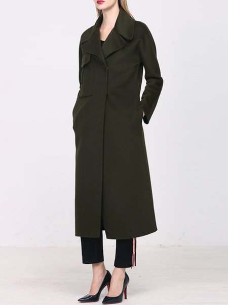 Dark Green Pockets H-line Long Sleeve Wool Coat