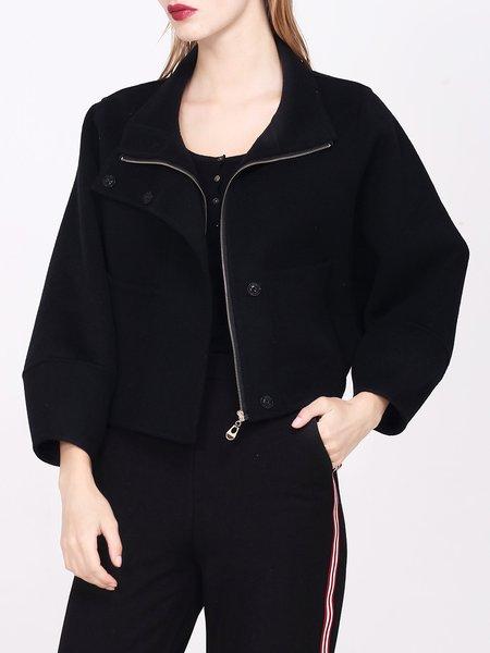 Black Batwing Wool Plain Zipper Cropped Jacket