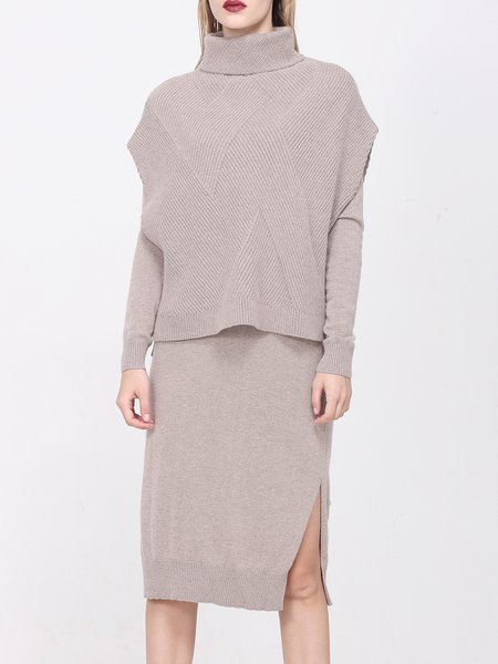 Camel Plain Two Piece Simple Knitted Slit Midi Dress