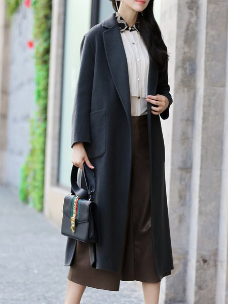 Gray Wool Pockets H-line Slit Long Sleeve Coat