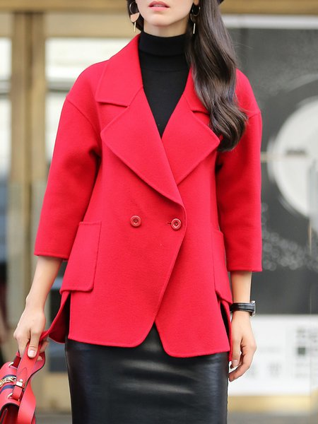 Red Casual Wool High Low Blazer