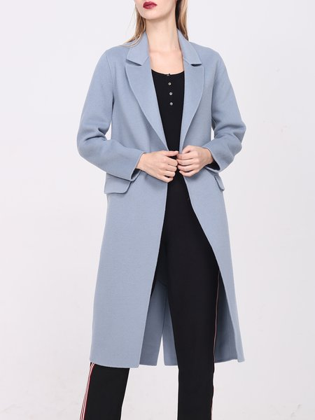 Light Blue Long Sleeve Wool Plain Lapel Coat - StyleWe.com