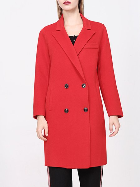 Red Buttoned Simple Wool Coat