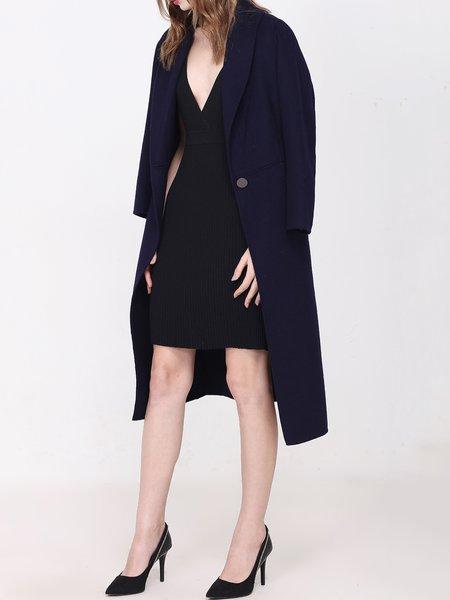 Navy Blue Wool Lapel Long Sleeve Coat