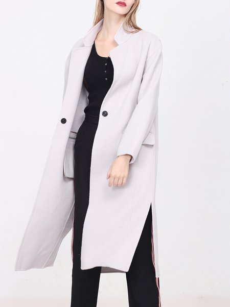 Light Gray Slit H-line Simple Plain Wool Coat