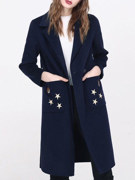 Navy Blue Simple Pockets Lapel Wool Coat