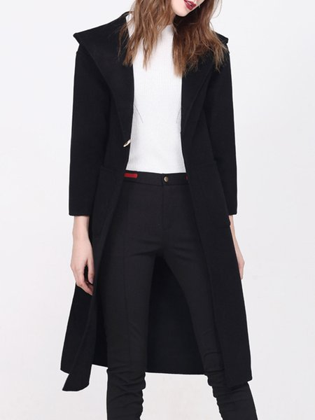 Black Hoodie Simple Wool Coat