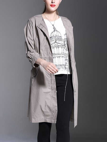 Cotton Long Sleeve Casual Plain Coat