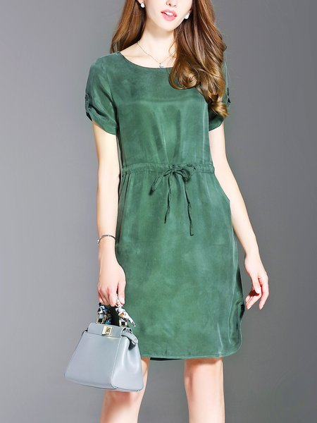 Green Bateau/boat Neck Casual Sheath Slit Midi Dress