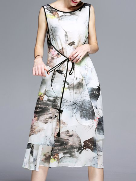 White-black Vintage Printed Crew Neck Midi Dress