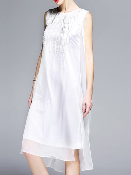 White Embroidered H-line Solid Sleeveless Midi Dress