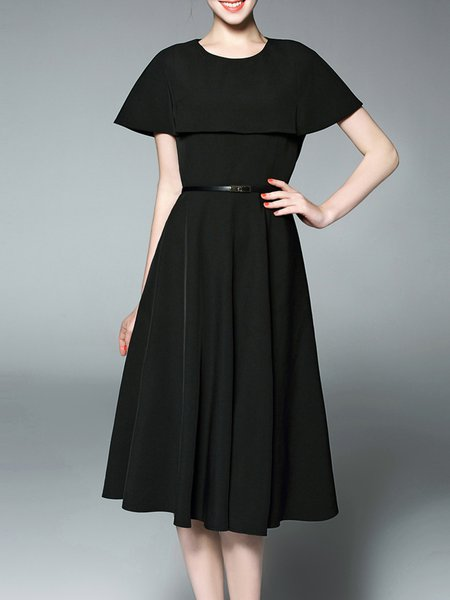 Black Solid Sleeveless Two Piece Midi Dress with Belt