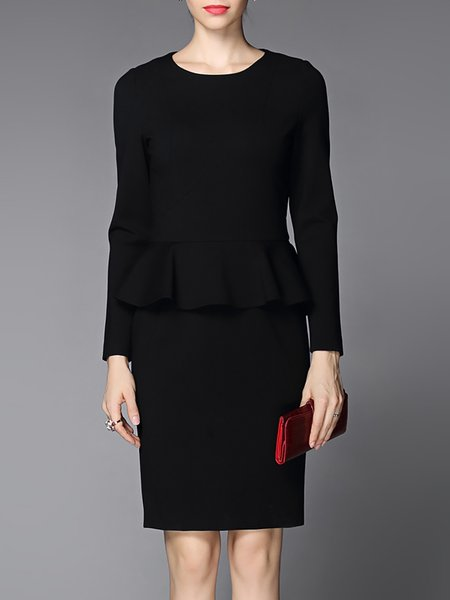 Black Work Ruffled Long Sleeve Plain Midi Dress