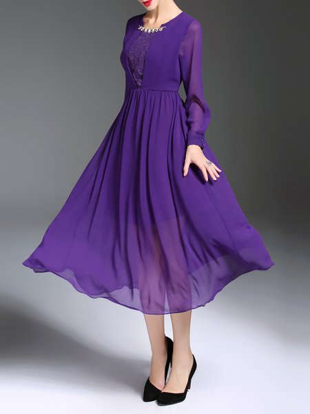 Purple Folds Chiffon Square Neck Plain Swing Midi Dress