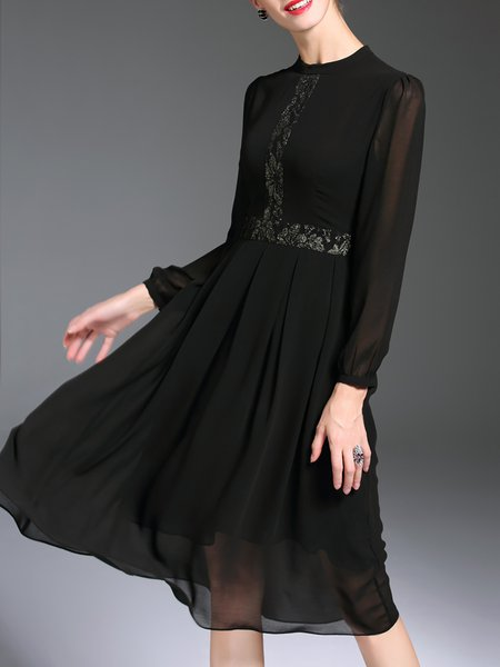 Black Long Sleeve Chiffon Crew Neck Swing Midi Dress