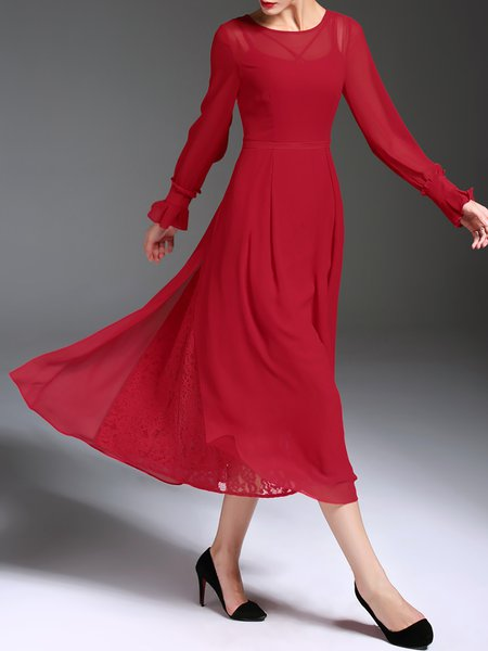 Red Casual Chiffon Long Sleeve Swing Midi Dress
