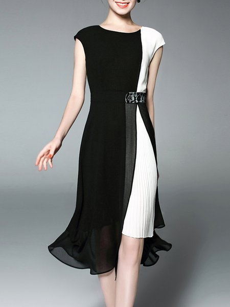 Black-white Polyester A-line Short Sleeve Chiffon Dress