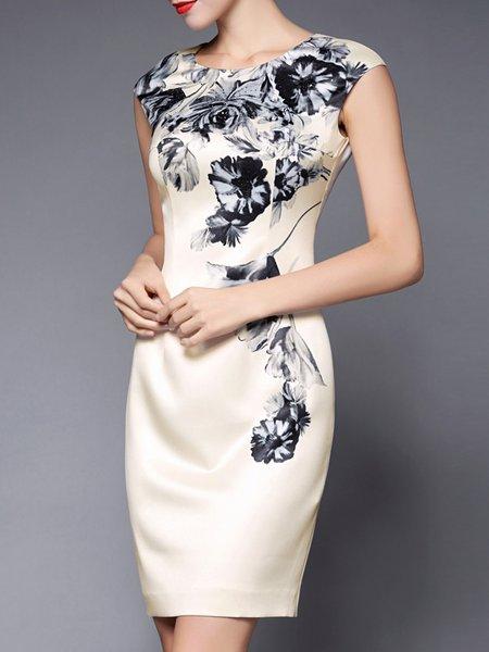 Apricot Sleeveless Sheath Midi Dress