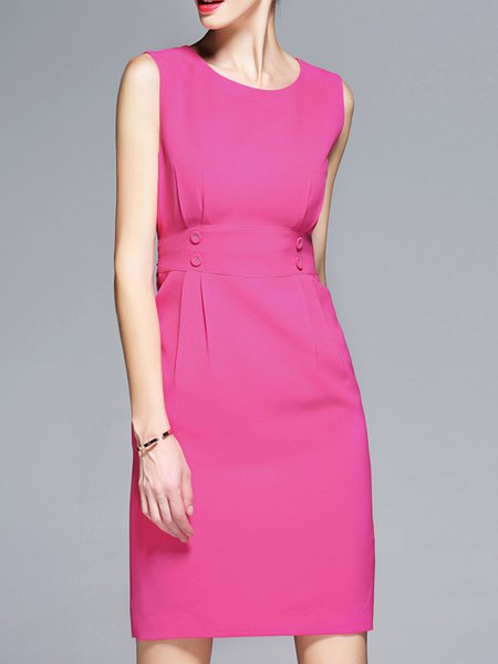 Fuchsia Sheath  Solid Sleeveless Midi Dress