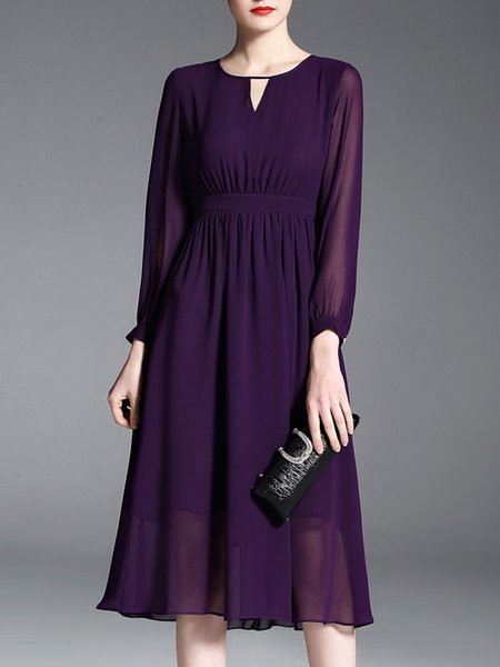 Elegant Long Sleeve Midi Dress