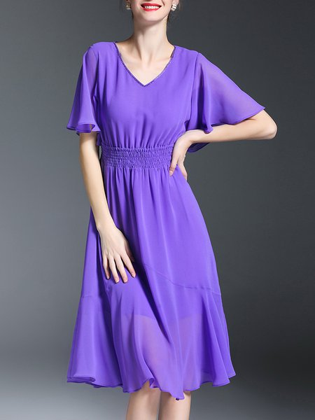 Purple Solid Elegant Midi Dress