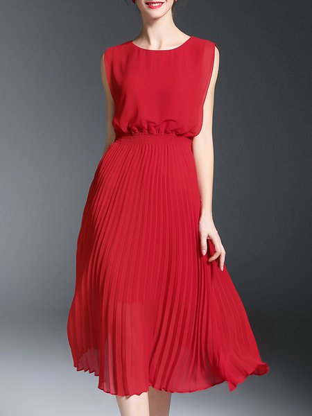 Red Solid Crew Neck Sleeveless Midi Dress