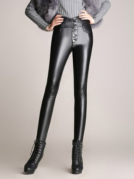 Black Solid Buttoned Casual PU Skinny Leg Pants