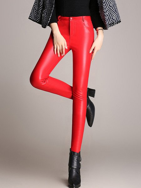 Red Pockets PU Casual Solid Skinny Leg Pants