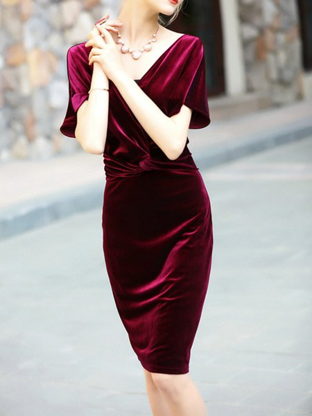 Slit Spandex Bodycon Elegant Short Sleeve Midi Dress