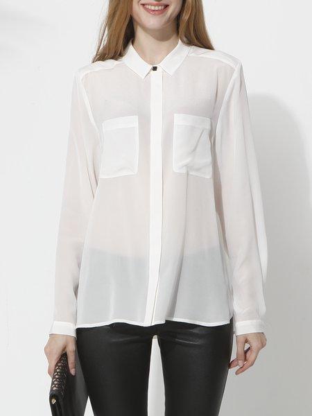 White Silk Casual Blouse