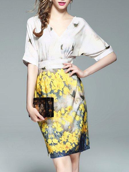 Multicolor Floral-print Polyester Elegant Midi Dress