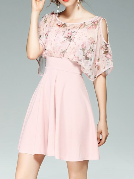 Floral-print A-line Girly Cold Shoulder Mini Dress