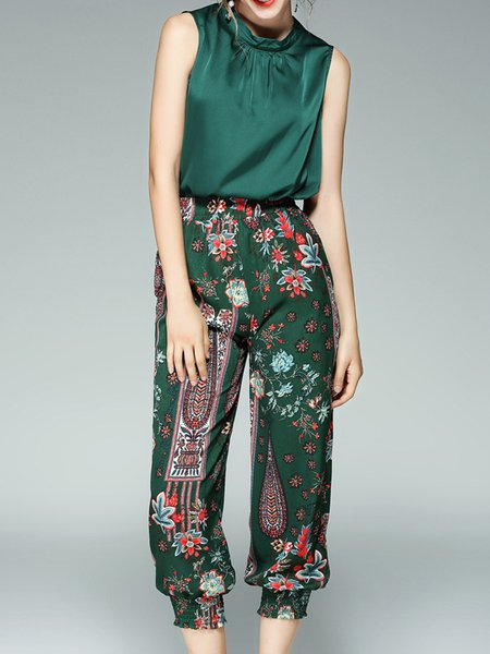 Green Cotton Crew Neck Sleeveless Top With Pants