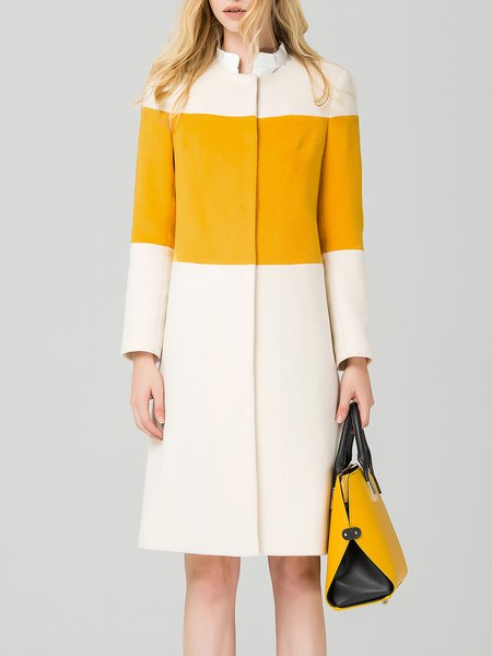 Yellow Stand Collar Wool Blend Long Sleeve Coat