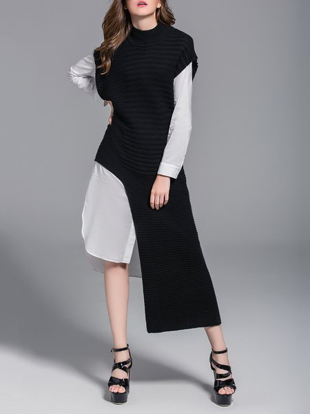 Black Asymmetrical Ribbed Knitted Plain Sweater