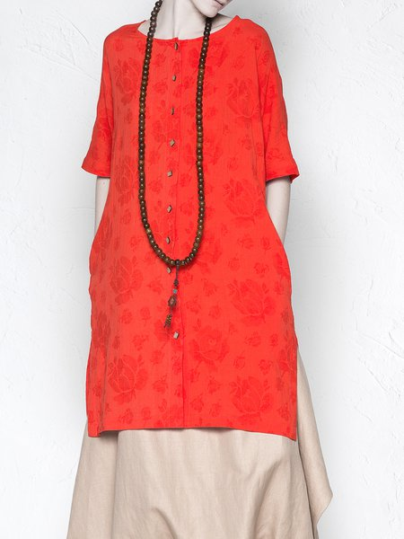 Red Jacquard H-line Casual Slit Tunic