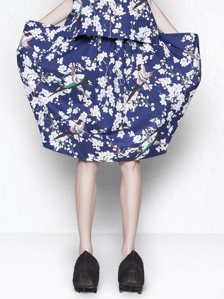 Royal Blue Printed Casual Midi Skirt