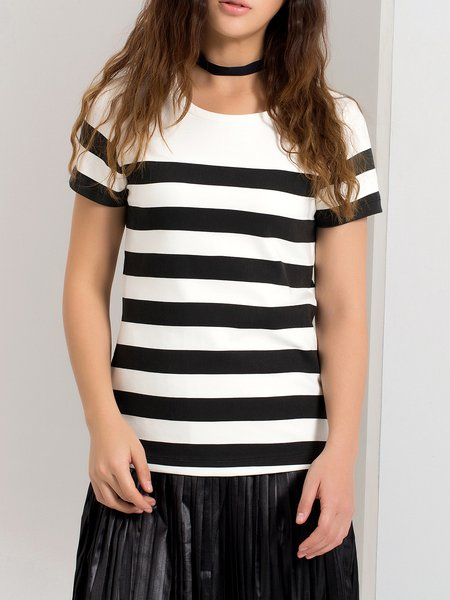 Black-white Cotton Simple Stripes T-Shirt