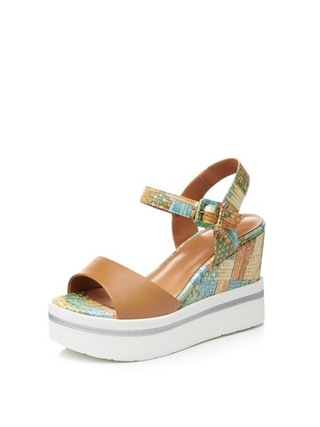 Apricot Buckle Dress Leather Wedge Heel Sandals