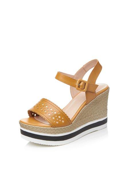 Leather Wedge Heel Dress Buckle Sandals