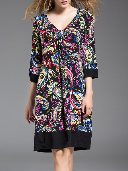 V Neck 3/4 Sleeve Printed Vintage Midi Dress