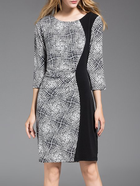 Gray Printed Sheath Crew Neck Simple Midi Dress