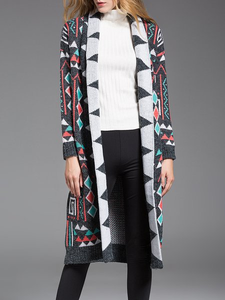 H-line Long Sleeve Geometric Simple Knitted Coat
