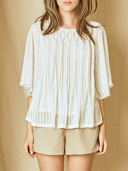 White Casual Pleated Blouse