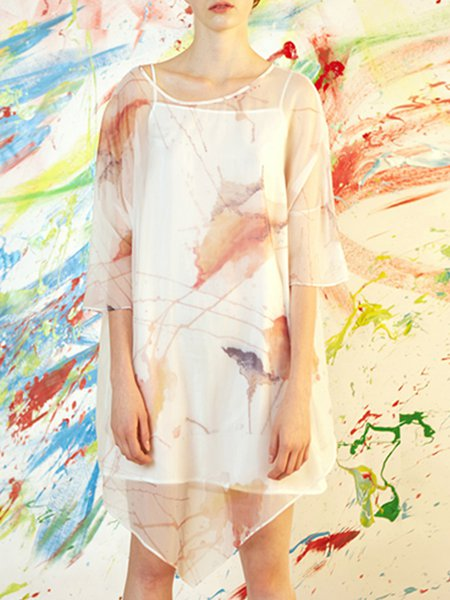 Multicolor 3/4 Sleeve Painted Two Piece Mini Dress