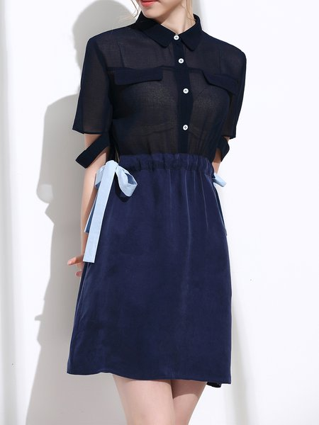 Dark Blue Shirt Collar Casual Paneled See through Mini Dress